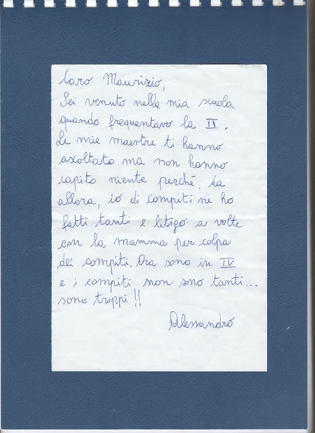 Compiti a casa: Lettera di un bambino di quarta elementare.