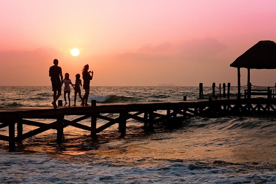 famiglia pier uomo donna bambini felice holiday silhouette sunrise bacino beach famiglia famiglia famiglia famiglia famiglia