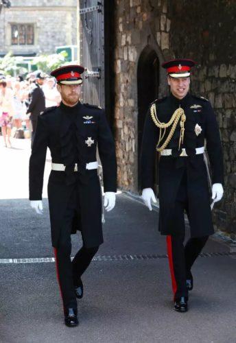 Harry e William con divisa Blues and Royals